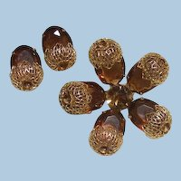 Faceted cut amber colored glass Rhinestone acorn set Sarah Coventry