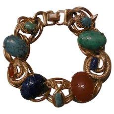 Fantastic vintage faux gem snake double link chunky Bracelet