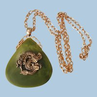 Large Asian faux Jade with cast dragon Necklace
