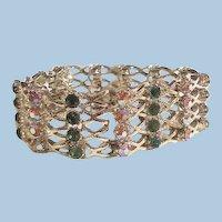 Stunning popping color Rhinestone Wide Link Bracelet circa 60's Breathtaking