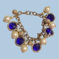 Pretty Loaded Charm Bracelet simulated Pearls Sapphire color glass Rivoli rhinestones
