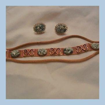 Beautiful 3 row mesh simulated jade bracelet Earring Set