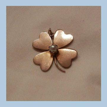 Vintage Gold filled Crc Four leaf clover Pearl Pendent