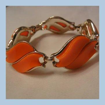 Coro Beautiful bright orange five panel thermoset Bracelet