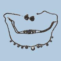 Sweet baby Blue color Rhinestone Demi Necklace Bracelet Earrings