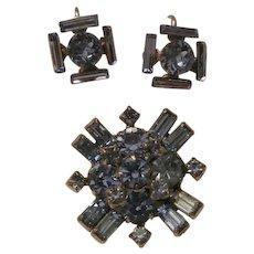 Blue ice Rhinestone brooch Earring Set