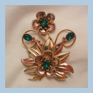 Large Emerald color rhinestone Flower Brooch Sterling 1 20 12k GF