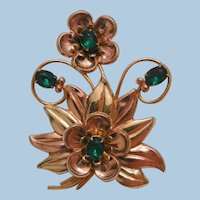 Large Emerald color rhinestone Flower Brooch Sterling 1 20 12k GF