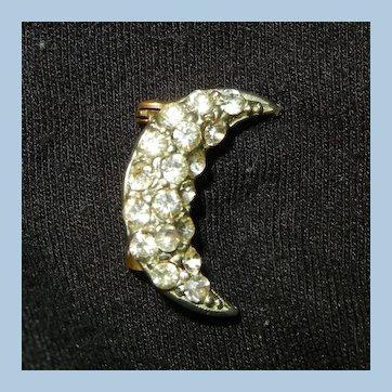 Vintage small rhinestone Half-moon Brooch