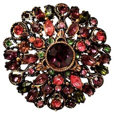 Gorgeous purple pinks greens blue Holly craft Brooch