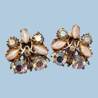 Aroura Borealis Rhinestone Milk glass bead clip back Earrings