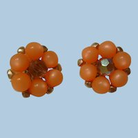 Pretty coral color bead clip Earrings