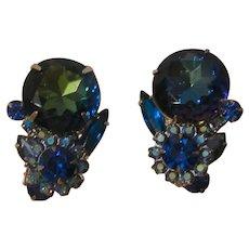 Gorgeous Julianna large Sapphire colored Rhinestone clip back Earrings