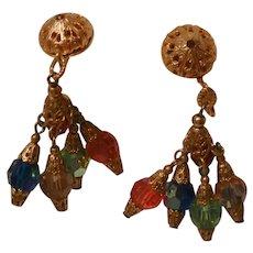 Stunning Chandelier colorful dangling bevel cut Crystal Clip back Earrings