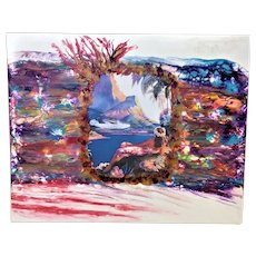 Original abstract painting Pineapple fiery Tropic