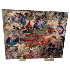 Original abstract painting Flowers in a mystical lake
