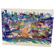 Original abstract painting Mystic fairies and flowers