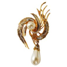 Vintage Swirl etched/enamel  with faux pearl Dangle brooch