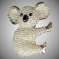 Vintage Whimsical large pave set rhinestone golden Koala Bear brooch Cute!