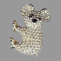Vintage Whimsical small pave set rhinestone golden Koala Bear brooch Cute!