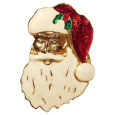 Vintage Santa face wearing his Red Cap and long white beard brooch Cute!