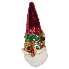 Vintage Santa head enameled Red Cap white beard with rhinestones brooch Cute