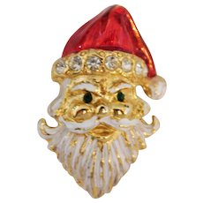 Vintage Santa face wearing his Red Cap and long white beard brooch Hallmarked Avante cute!