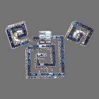 Collectible Sapphire colored Baguette 'Greek Key' Maze Pattern Dress Clip/pin & Clip Earrings Set MB Boucher Company 1953