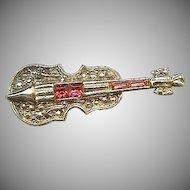 Cute Violin pin with Red Rhinestones