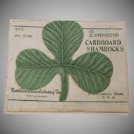 Box with 4 Dennison decorative cardboard Shamrock Cut outs for Saint Patrick's Day 1920's celebration