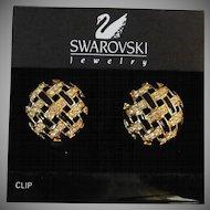 Vintage Swarovski 1 inch Clip-On Earrings Diamante crystal stones and black enamel excellent condition
