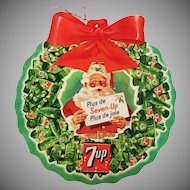 Vintage advertising Two Sided Seven up - 7 up with Santa cardboard decoration 1950's