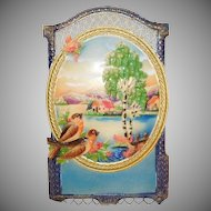 Vintage Countryside scene  Embossed Cardboard Calendar top wall decoration German made 1920's