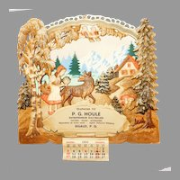 Wintery scene of a girl and a wolf Embossed Cardboard Calendar top wall decoration German made 1954