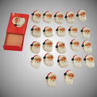 Santa Claus face/head seals/stickers Christmas decoration Dennison Company 1940's