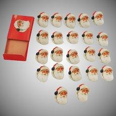 Santa Claus face/head seals/stickers Christmas decoration Dennison Company 1940's