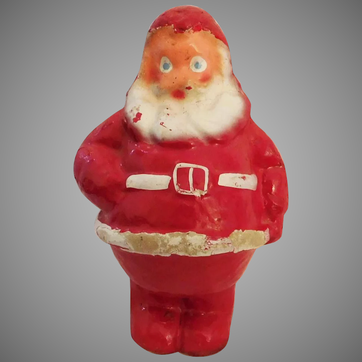 Cute Vintage Paper Mache 7 Inch Santa Claus Candy Container Mid Century Christmas Decoration