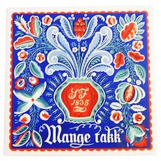 "Art tile Trivet - Norwegian Rosemaling style ""Mange Takk - Thanks So Much"" Berggren Traynor Corporation 1950's"