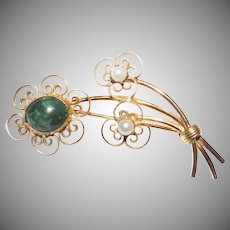 Delicate Jade Flower with Cultured Pearls 12K GF brooch Winard Company 1950's