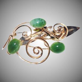 Delicate swirl with faux Jade Flower brooch 1950's