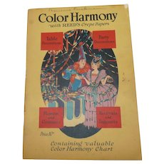 Reed's Color Harmony craft book How to make Paper Decorations softcover pamphlet Reed's Crepe Papers 1925