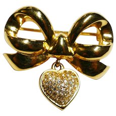 """Vintage Bow with Pave Rhinestone Dangling Heart  Brooch - Hallmarked """"WD"""" –  Elizabeth Taylor """"White Diamonds"""" Collection"""