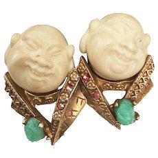 "Collectible and rare Hallmarked HAR ""The Smiling Chinaman"" earrings HARGO Creations 1960s"
