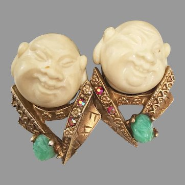 """Collectible and rare Hallmarked HAR """"The Smiling Chinaman"""" earrings HARGO Creations 1960s"""