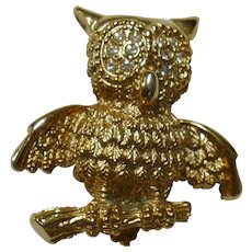 Vintage Hoot Owl on a branch brooch