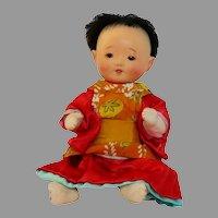 Japanese Ichimatsu Baby Doll in Kimono, Gofun Composition, Glass Eyes, Handmade Japan CIRCA 1930-40