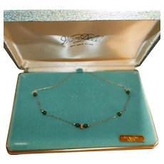 Vintage Van Dell 12KT Gold Fill necklace with genuine Jade beads Mid Century with Original Jewelry box