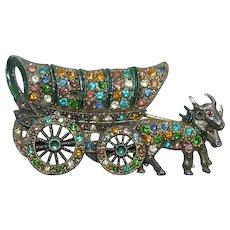 Oxen pulling Conestoga - Covered Wagon Brooch multi colored rhinestones 1930's Book piece