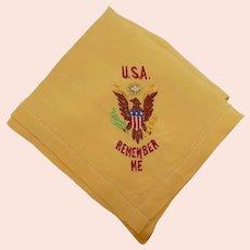 World War 2 US Army Military Sweetheart home front souvenir hanky/handkerchief