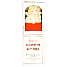 Valentine Cupid Cherub and Heart cardboard Cut outs pick decorations for ices, cupcakes puddings Dennison Co 1920s